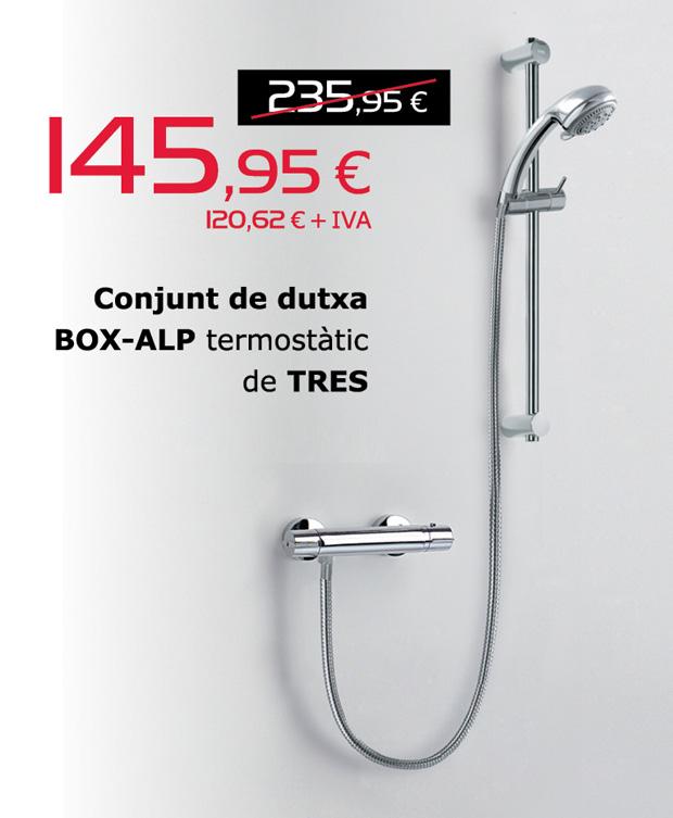 Conjunto de ducha BOX-ALP termostático de TRES, por sólo 145,95€ (IVA incluido)