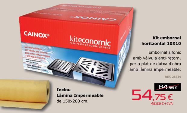 Kit embornal sifònic amb vàlvula anti-retorn, per a plat de dutxa d'obra. Inclou làmina impermeable de 150x200cm. El kit complet per només 54,75€.