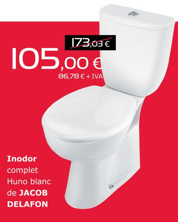 Inodoro completo HUNO blanco de JACOB DELAFON, por sólo 105€ (IVA incluido)