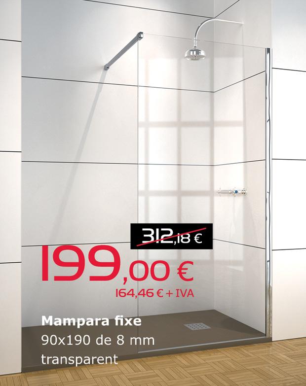 Mampara fija de 90x190 con cristal transparente de 8mm, por sólo 199€ (IVA incluido)