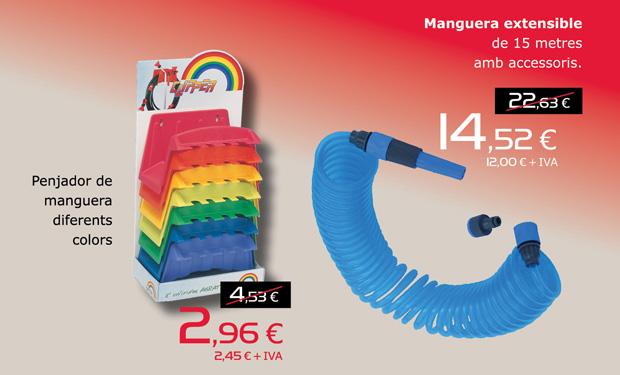 Mànega extensible de 15 metres amb accessoris, per només 14,52€. Penjador de mànega en diferents colors, per només 2,96€.