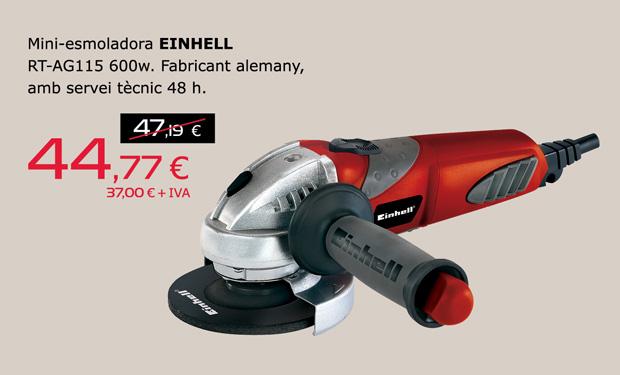 Mini-esmoladora EINHELL RT-AG115 600w, per només 44,77€.  Fabricant alemany, amb servei tècnic 48h.