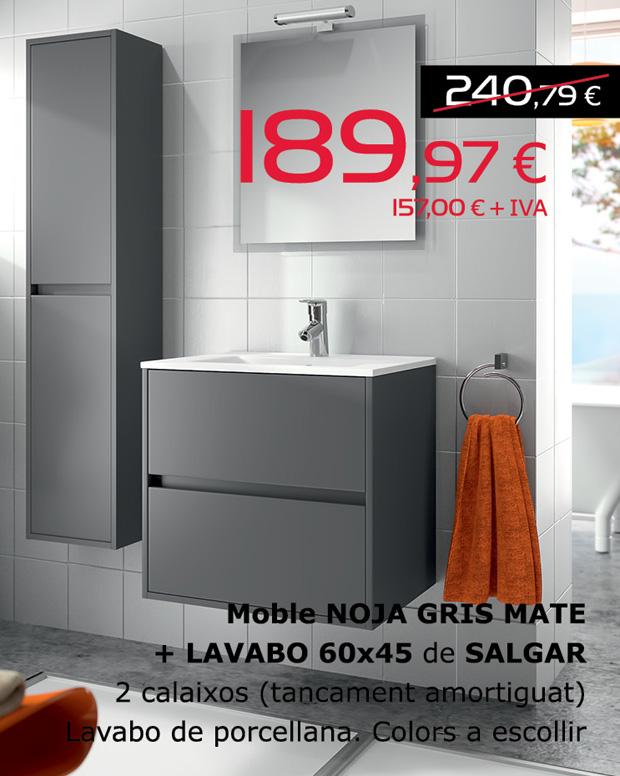 Moble gris mate NOJA + lavabo 60x45 de SALGAR, per només 189,97€ (IVA inclòs)  2 calaixos (tancament amortiguat). Lavabo de porcellana, colors a escollir.