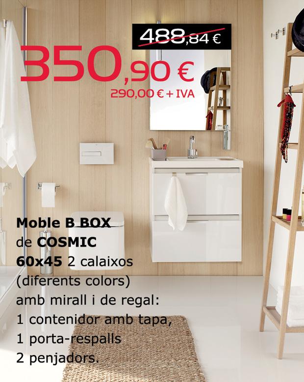 Moble B BOX de COSMIC 60x45 de diferents colors amb 2 calaixos.  Inclou mirall i de regal: 1 contenidor amb tapa, 1 porta-respalls i 2 penjadors.