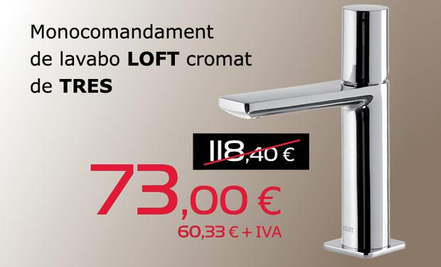 Monomando de lavabo LOFT cromado de TRES, por sólo 73€ (IVA incluido)