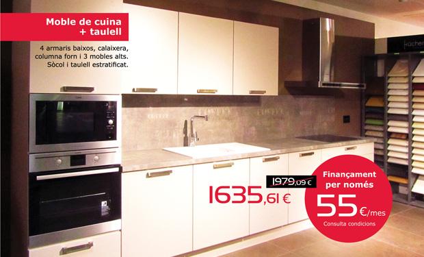 Mobles de cuina + taulell: 4 armaris baixos, calaixera, columna forn i tres mobles alts. Amb sòcol i taulell estratificat. Ara per només 1635,61€. I si ho prefereixes, pots finançar-la per només 55€/mes.