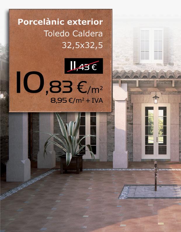 Pavimento porcelánico exterior TOLEDO CALDERA 32,5x32,5, por sólo 10,83 €/m2 (IVA incluido)