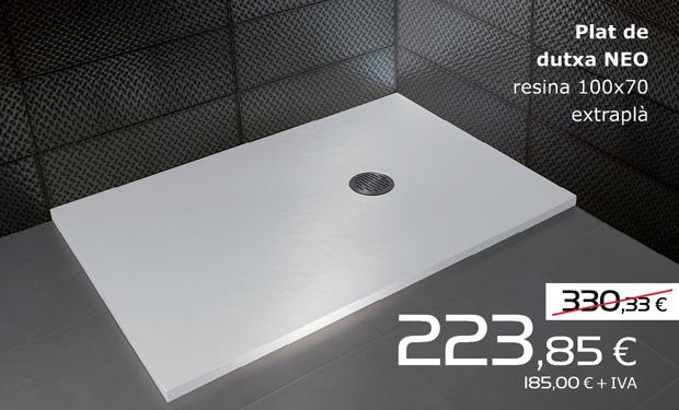 Plat de dutxa NEO de resina 100x70 extraplà, per només 223,85€ (IVA inclòs)