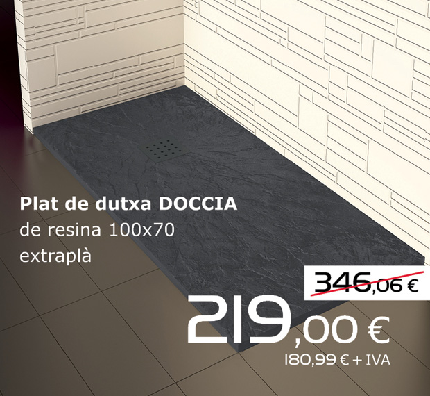 Plato de ducha DOCCIA de resina 100x70 extraplano, por sólo 219€ (IVA incluido)