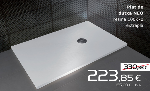 Plato de ducha NEO de resina 100x70 extraplano, por sólo 223,85€ (IVA incluido)