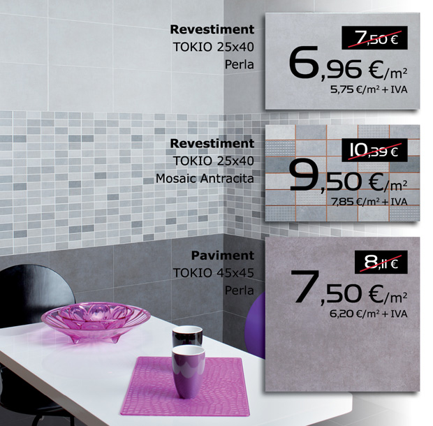 Revestiment interior TOKIO 25x40 en color PERLA i MOSAIC ANTRACITA. Paviment interio TOKIO 45x45 en color PERLA.