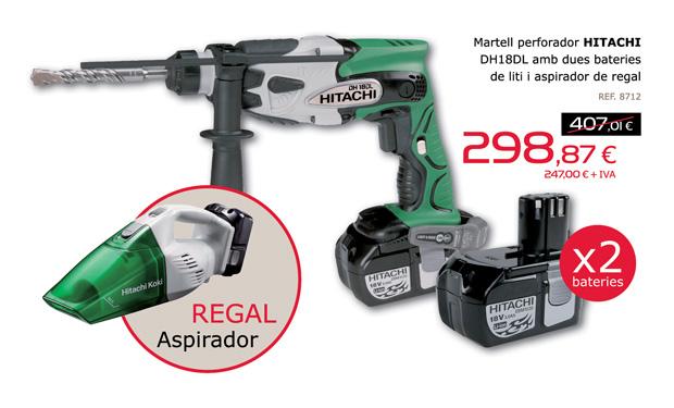Martillo perforador HITACHI DH18DL con dos baterías de litio y aspirador de regalo. Ahora por sólo 298,87€.