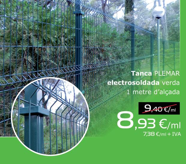 Tanca PLEMAR electrosoldada verda d'un metre d'alçada, per només 8,93 €/ml (IVA inclòs)