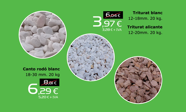 Oferta en canto rodado blanco (18-30mm) y triturados blanco y alicante (12-20mm)